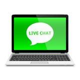 Ordenador portátil con Live Chat Fotografía de archivo libre de regalías