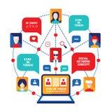Ordenador portátil con los avatares de la gente y concepto social de la red de los iconos del negocio Foto de archivo libre de regalías
