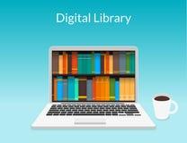 Ordenador portátil con los eBooks stock de ilustración