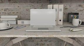 ordenador portátil 3D en estante Fotos de archivo libres de regalías