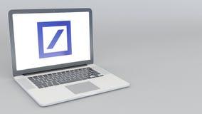 Ordenador portátil de apertura y de cierre con el logotipo de Deutsche Bank AG animación del editorial 4K ilustración del vector
