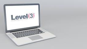 Ordenador portátil de apertura y de cierre con el logotipo de las comunicaciones del nivel 3 animación del editorial 4K ilustración del vector