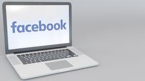 Ordenador portátil de apertura y de cierre con el logotipo de Facebook en la pantalla Clip conceptual del editorial 4K de la info ilustración del vector