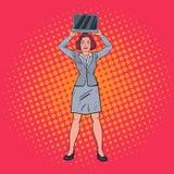 Ordenador portátil de Art Happy Business Woman Holding del estallido Secretaria con el ordenador stock de ilustración