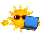 ordenador portátil de 3d Sun Fotografía de archivo libre de regalías