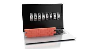 Ordenador portátil de la animación con la pared de ladrillo Concepto del cortafuego