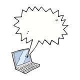 ordenador portátil de la historieta con la burbuja del discurso ilustración del vector
