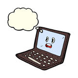 ordenador portátil de la historieta con la burbuja del pensamiento Imagen de archivo libre de regalías