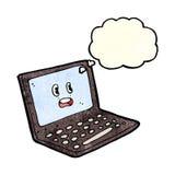 ordenador portátil de la historieta con la burbuja del pensamiento Fotos de archivo