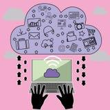 Ordenador portátil de la nube Imágenes de archivo libres de regalías