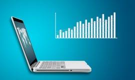 Ordenador portátil de la tecnología con la carta de las divisas de las finanzas del gráfico Foto de archivo libre de regalías