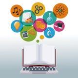 Ordenador portátil de la tecnología y libro abierto de la exhibición con conocimiento del academic de los iconos de las burbujas Imagen de archivo