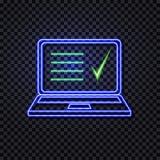 Ordenador portátil de neón del vector con la lista y el control abstractos Mark Isolated en el fondo transparente, ejemplo brilla stock de ilustración