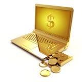 Ordenador portátil de oro con una muestra de dólar en la pantalla y el dinero que caen de la unidad de discos Foto de archivo libre de regalías