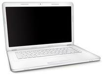 Ordenador portátil de plata con la pantalla en blanco negra Imagen de archivo libre de regalías