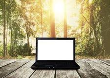 Ordenador portátil del ordenador en la tabla de madera, bosque en fondo de la salida del sol Pantalla blanca vacía de la trayecto Foto de archivo libre de regalías