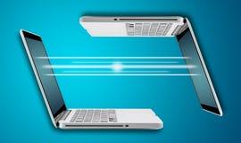 Ordenador portátil del ordenador con digital ligero Foto de archivo libre de regalías