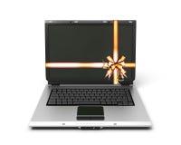 Ordenador portátil del regalo en el fondo blanco ilustración del vector