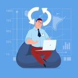 Ordenador portátil del uso del hombre de negocios que pone al día al medios hombre de negocios social de la comunicación de la re ilustración del vector