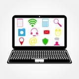 Ordenador portátil e iconos Imágenes de archivo libres de regalías