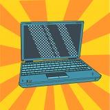 Ordenador portátil en arte pop Abra el cuaderno digital en estilo cómico Ilustración del vector Fotografía de archivo