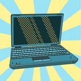 Ordenador portátil en arte pop Abra el cuaderno digital en estilo cómico Ilustración del vector Fotos de archivo libres de regalías