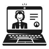 Ordenador portátil en el icono webinar, estilo simple libre illustration