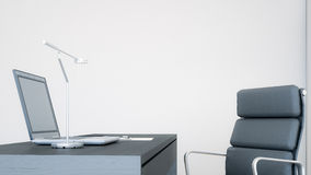 Ordenador portátil en un escritorio en la representación oficina/3D Fotos de archivo libres de regalías