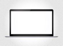 Ordenador portátil fino moderno con la pantalla ancha Maqueta del vector Fotos de archivo