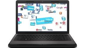 Ordenador portátil medios Logo Loop social ilustración del vector