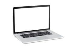 Ordenador portátil moderno con la pantalla en blanco Imagenes de archivo