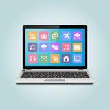 Ordenador portátil moderno con los iconos Foto de archivo