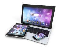 Ordenador portátil moderno de los dispositivos, smartphone, tableta ilustración del vector