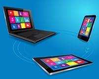 Ordenador portátil moderno, tableta y teléfono elegante stock de ilustración