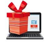 Ordenador portátil, noteebok con la caja de regalo roja Concepto en línea de las compras Venta, comercio electrónico, vendiendo a ilustración del vector