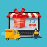 Ordenador portátil, noteebok con la caja de regalo roja Pista de la entrega, gente que pide un concepto que hace compras en línea stock de ilustración