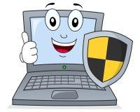 Ordenador portátil o cuaderno con antivirus del escudo stock de ilustración