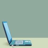 Ordenador portátil oblicuo dado vuelta en diseño plano Fotos de archivo