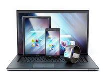 Ordenador portátil, PC de la tableta, smartphone y smartphone ilustración 3D Imagen de archivo libre de regalías