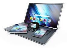 Ordenador portátil, PC de la tableta, smartphone y smartphone ilustración 3D Fotos de archivo