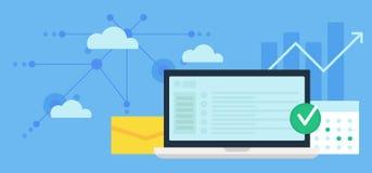 Ordenador portátil, procesos del trabajo y conexiones Imagen de archivo