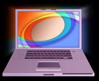Ordenador portátil rosado Fotos de archivo