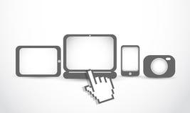 Ordenador portátil, smartphone, tablilla, cámara stock de ilustración