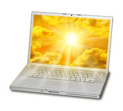 Ordenador portátil Sun amarillo Imágenes de archivo libres de regalías