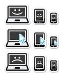 Ordenador portátil, tableta y teléfono con las caras de la flecha del cursor, felices y tristes Imagenes de archivo