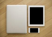 Ordenador portátil, tableta y teléfono molbile Imagen de archivo libre de regalías