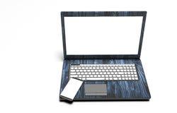 Ordenador portátil, teléfono móvil - aislado en blanco con la trayectoria de recortes, 3d rinden Fotos de archivo libres de regalías