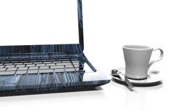Ordenador portátil, teléfono móvil - aislado en blanco con la trayectoria de recortes, 3d rinden Foto de archivo