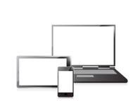 Ordenador portátil, teléfono móvil y PC digital de la tableta Imágenes de archivo libres de regalías