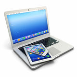 Ordenador portátil, teléfono móvil y PC digital de la tableta Fotografía de archivo libre de regalías